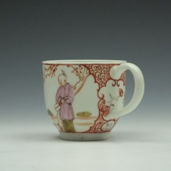Lowestoft Porcelain Butterfly Catching Party Mandarin Pattern Coffee Cup c1780-90 (5)