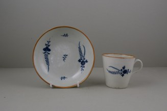 Worcester Porcelain Rare Chantilly Sprigs Pattern Cup and Saucer, C1775 (11)