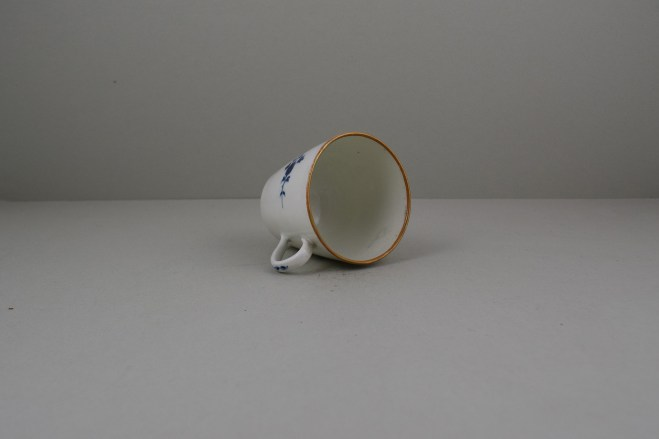 Worcester Porcelain Rare Chantilly Sprigs Pattern Cup and Saucer, C1775 (8)