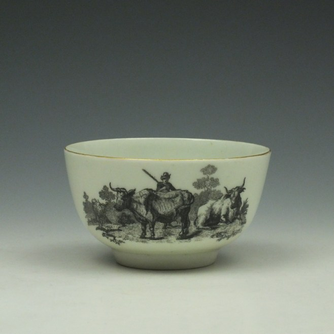 Rare Worcester Drovers Pattern Bat Printed Teabowl c1770 (1)