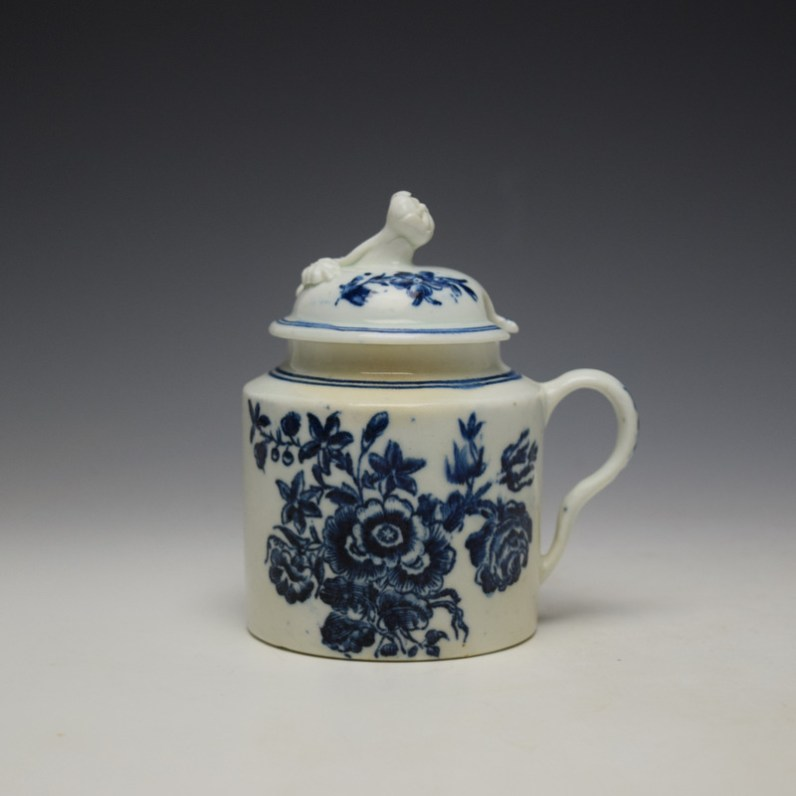Worcester Three Flowers Pattern Mustard Pot and Cover c1785 (1)