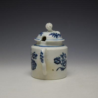 Worcester Three Flowers Pattern Mustard Pot and Cover c1785 (5)
