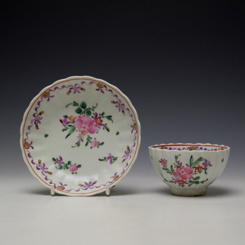 Lowestoft Fluted Curtis Floral Pattern Teabowl and Saucer c1780 (1)