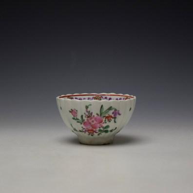 Lowestoft Fluted Curtis Floral Pattern Teabowl and Saucer c1780 (2)