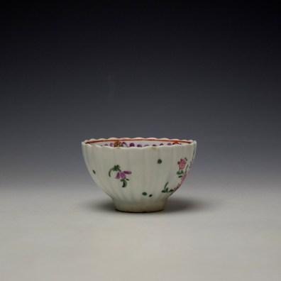 Lowestoft Fluted Curtis Floral Pattern Teabowl and Saucer c1780 (3)
