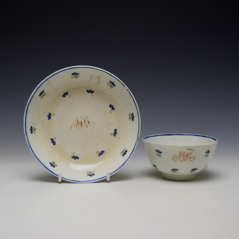 Lowestoft Rare Monogramed Cornflower Sprigs Pattern Teabowl and Saucer c1785-95 (1)