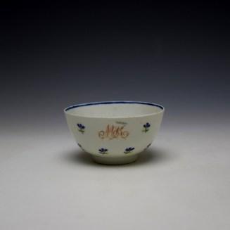 Lowestoft Rare Monogramed Cornflower Sprigs Pattern Teabowl and Saucer c1785-95 (2)