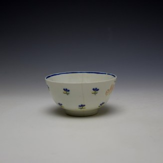 Lowestoft Rare Monogramed Cornflower Sprigs Pattern Teabowl and Saucer c1785-95 (3)