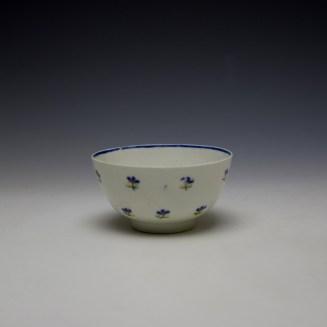 Lowestoft Rare Monogramed Cornflower Sprigs Pattern Teabowl and Saucer c1785-95 (4)