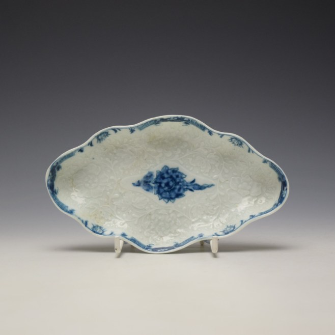 Worcester Moulded Spoon Tray c1760-65 (1)
