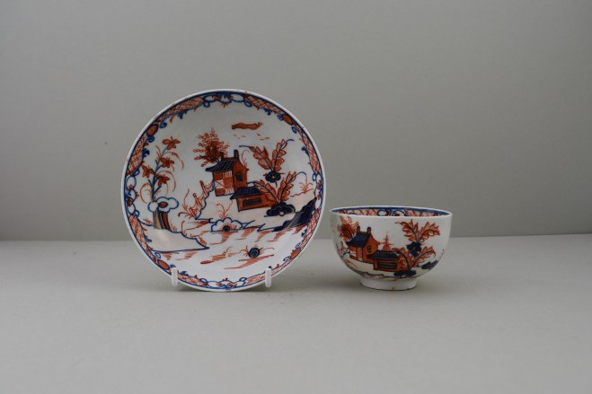 Lowestoft Dolls House Fern Pattern Teabowl and Saucer, C1775-85 (1)