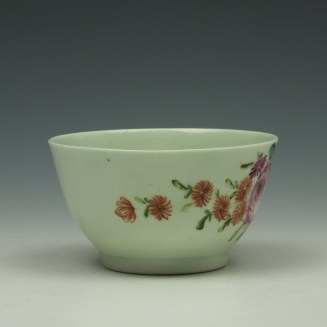 Liverpool Richard Chaffers Rose Pattern Teabowl and Saucer c1760-62 (3)