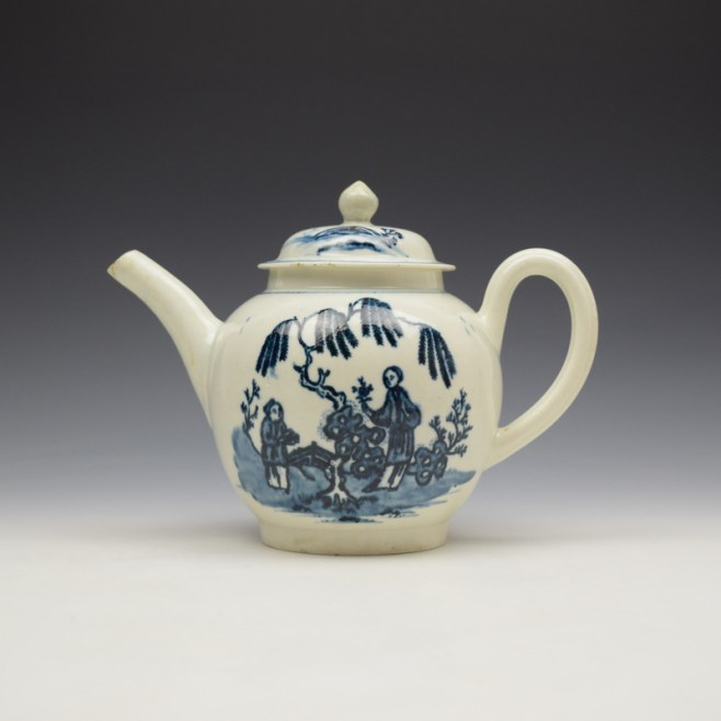 Liverpool Seth Pennington Lady and Servant Pattern Teapot and Cover c1790 (1)