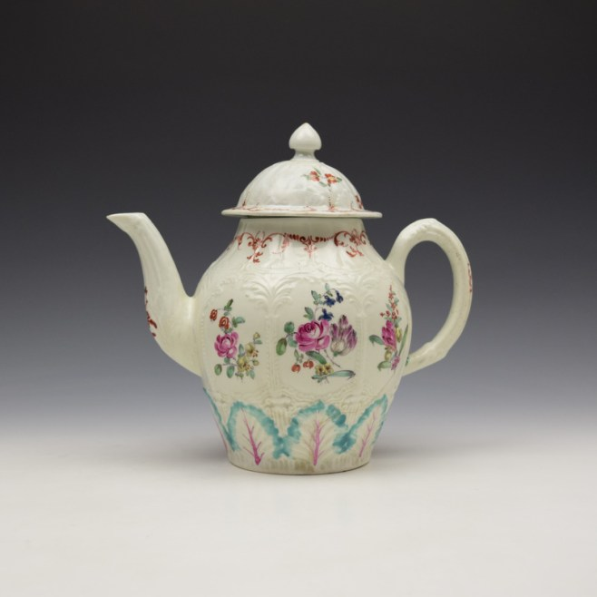 Liverpool Seth Pennington Moulded Floral Pattern Teapot and Cover c1785-95 (1)