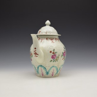 Liverpool Seth Pennington Moulded Floral Pattern Teapot and Cover c1785-95 (2)