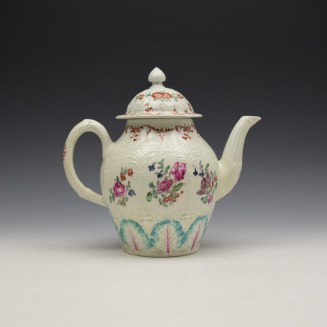 Liverpool Seth Pennington Moulded Floral Pattern Teapot and Cover c1785-95 (5)