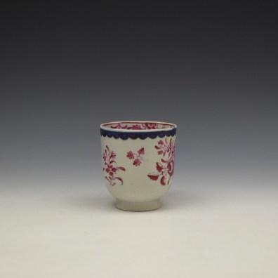 Liverpool Seth Pennington Puce Monochrome Floral Pattern Coffee Cup c1785 (2)
