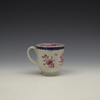 Liverpool Seth Pennington Puce Monochrome Floral Pattern Coffee Cup c1785 (4)