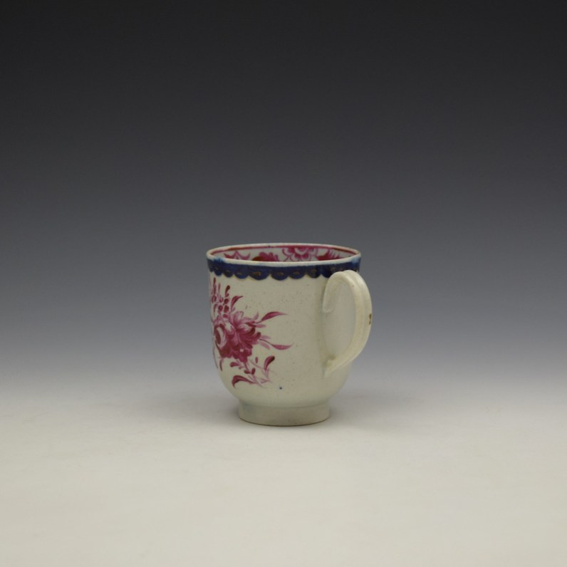 Liverpool Seth Pennington Puce Monochrome Floral Pattern Coffee Cup c1785 (6)