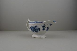 Worcester Porcelain Strap Flute Floral Pattern Sauceboat, C1770-80 (4)