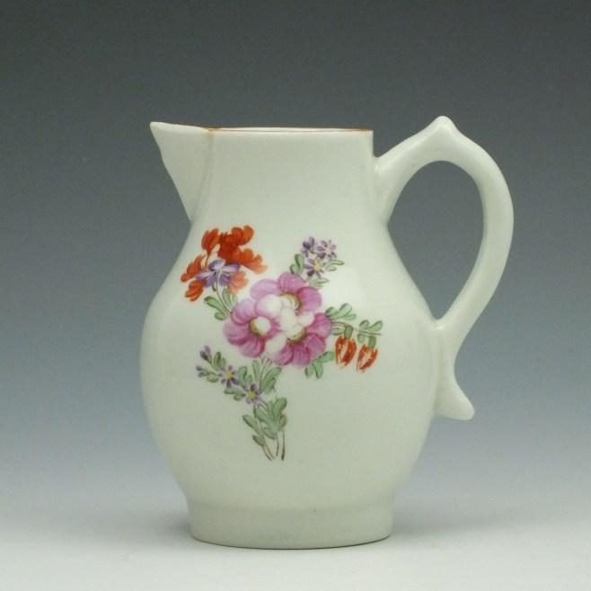 Lowestoft Porcelain Tulip Painter Pattern Sparrow Beak Cream Jug c1780-90 (1)