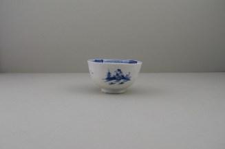 Lowestoft Porcelain Two Pagoda Bridge Landscape pattern Teabowl and Saucer, C1775-90 (13)