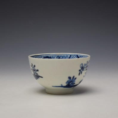 Lowestoft Flowering Plant Holed Rock and Fence Pattern Teabowl and Saucer c1780-85 (3)