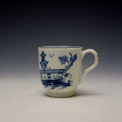 Lowestoft Gatehouse and Walled Garden Pattern Coffee Cup and Saucer c1785-90 (2)