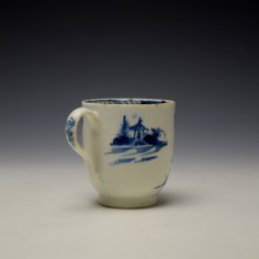 Lowestoft Gatehouse and Walled Garden Pattern Coffee Cup and Saucer c1785-90 (5)