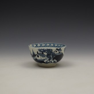 Lowestoft Two House River Landscape Pattern Teabowl and saucer c1785-90 (2)