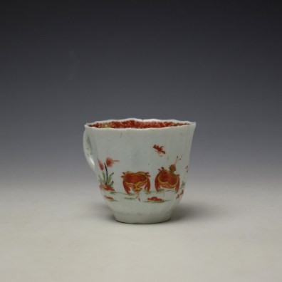 Worcester Red Crab Pattern Fluted Coffee Cup c1758-65 (3)
