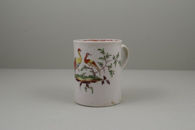 Liverpool Porcelain William Reid Exotic Bird Bird Pattern Mug, C1756-58 (1)