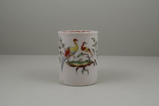 Liverpool Porcelain William Reid Exotic Bird Bird Pattern Mug, C1756-58 (2)