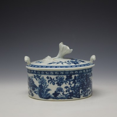 Worcester Fence Pattern Butter Tub and Cover c1765-85 (3)
