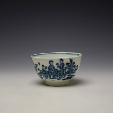 Worcester The Three Ladies Pattern Teabowl and Saucer c1770-80 (2)