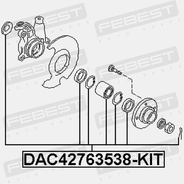 Front wheel bearing repair kit 42x76x35x38 same as SNR