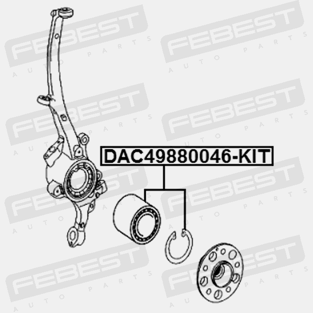 FRONT WHEEL BEARING REPAIR KIT 49X88X46. Febest