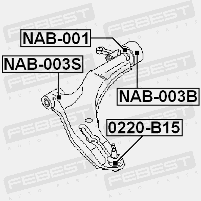 REAR BUSHING FRONT ARM WITH SHAFT FOR NISSAN SENTRA 2001