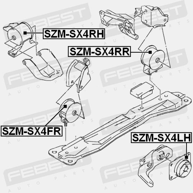 SZM-SX4LH LEFT ENGINE MOUNT SUZUKI SX4 RW415/RW416/RW419