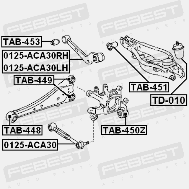 TAB-450Z Febest ARM BUSHING REAR ASSEMBLY for TOYOTA 42304
