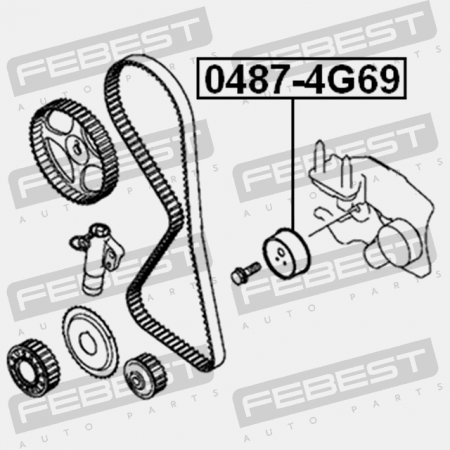 TIMING BELT TENSIONER PULLEY. Febest 0487-4G69. MITSUBISHI