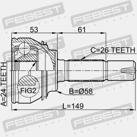 OUTER CV JOINT 24X58X26 (TOYOTA 43460-80004) CV Joints