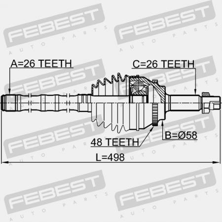 SHAFT ASSEMBLY, OUTER CV JOINT 26X0X26. Febest: 0114