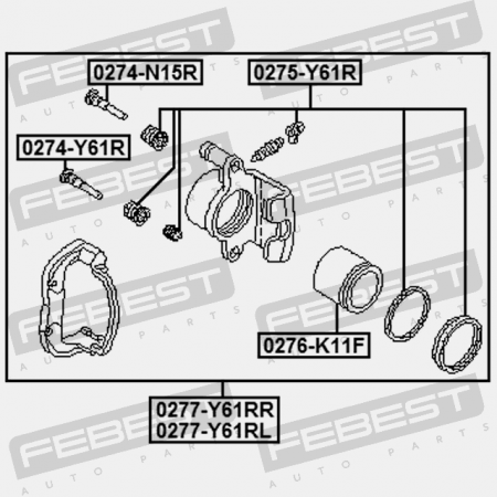 REAR RIGHT BRAKE CALIPER ASSEMBLY. Febest: 0277-Y61RR