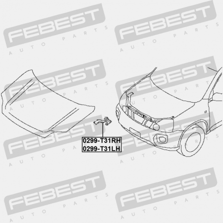 HINGE ASSEMBLY HOOD RIGHT (NISSAN) Body Elements Febest