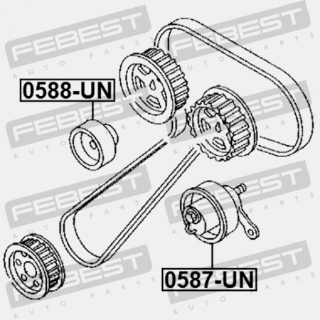 TIMING BELT TENSIONER PULLEY. Febest: 0587-UN