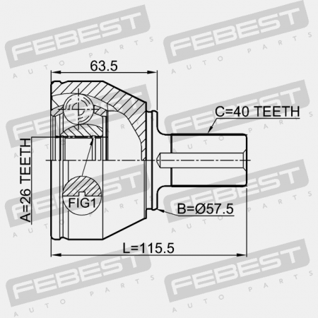OUTER CV JOINT 26X57.5X40 (FORD, VOLVO) CV Joints Febest