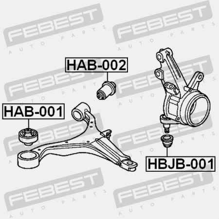 FRONT BUSHING, FRONT CONTROL ARM (HONDA 51391-S5A-801