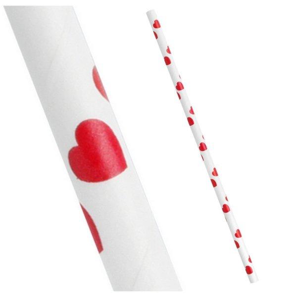 Pailles Blanches coeurs rouges zoom - Fêtes vous même