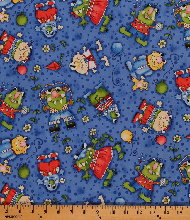Cotton Lil Monster Friends Kids Cotton Fabric Print By The Yard 8490C 3M
